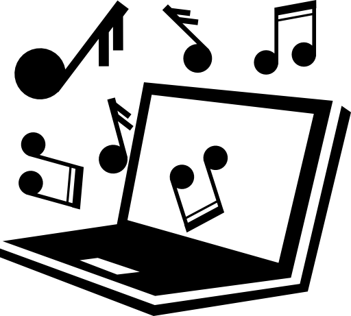 Laptop computer with music coming out of it