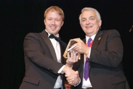 Presenting an award at an AACT festival