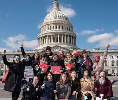 Photo of Arts Advocacy Day participants outside U.S. Capitol building